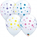 "Baloane latex 11""/28 cm inscriptionate Colorful Dots, Qualatex 88217"