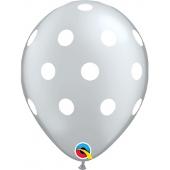 """11"""" Printed Latex Balloons, Big Polka Dots Silver, Qualatex 52956"""