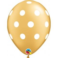 """11"""" Printed Latex Balloons, Big Polka Dots Gold, Qualatex 52958"""