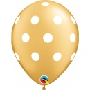 "Baloane latex 11""/28 cm inscriptionate Big Polka Dots Gold, Qualatex 52958"