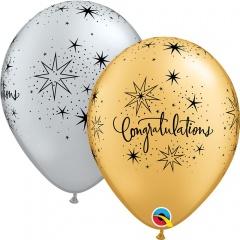 "11"" Printed Latex Balloons, Congratulations Elegant Silver/Gold, Qualatex 85682"