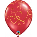 "11"" Romantic Hearts Printed Latex Balloons, Qualatex 40862"