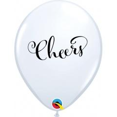 "11"" Printed Latex Balloons, Cheers, Qualatex 90992"