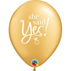 "11"" Printed Latex Balloons, She Said Yes!, Qualatex 89444"
