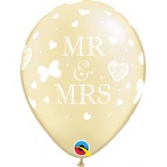 "11"" Printed Latex Balloons, Mr. & Mrs., Pearl Ivory, Qualatex 18656"