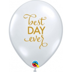 "Baloane latex 11""/28 cm inscriptionate Best Day Ever, Qualatex 91019"
