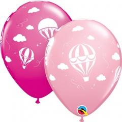 Baloane latex 11''/28 cm Pink Hot Air Balloons, Qualatex 86559