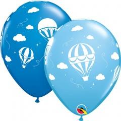 "11"" Printed Latex Balloons Blue Hot Air Balloons, Qualatex 86560"