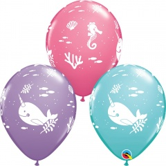 "11"" Printed Latex Balloons, Fun Under The Sea, Qualatex 91155, pack of 6 pcs"