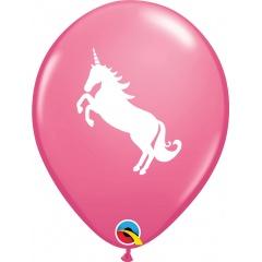 "11"" Printed Latex Balloons Rose Unicorn, Qualatex 86019, pack of 6 pcs"