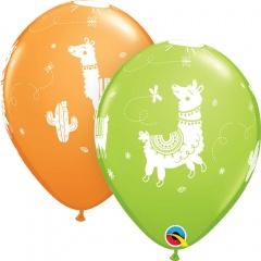 "11"" Llama Printed Latex Balloons, Qualatex 86021, pack of 6 pcs"