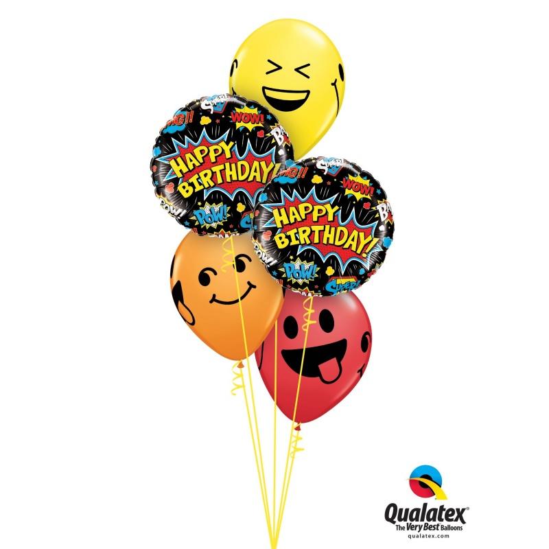 11 Printed Latex Balloons Smiley Faces Qualatex 85705