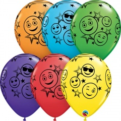 "11"" Printed Latex Balloons Smiley Face Stars, Qualatex 52960"