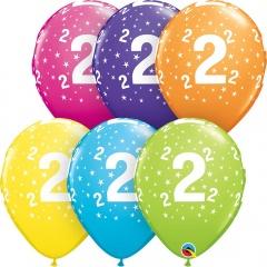 11'' Printed Latex Balloons Number 2, Qualatex 50823
