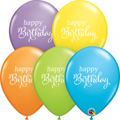 "Baloane latex 11""/28 cm Happy Birthday Pastel, Qualatex 89447"