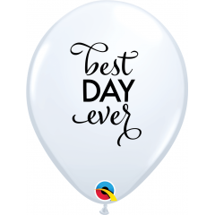 Baloane latex 11''/28 cm inscriptionate Best Day Ever, Qualatex 89445