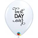 "11"" Round Latex Balloons White Best Day Ever, Qualatex 89445"