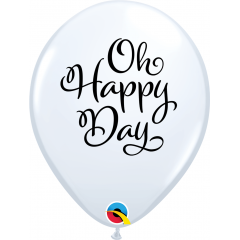 Baloane latex 11''/28 cm inscriptionate Oh Happy Day, Qualatex 90994