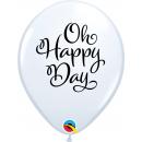 "11"" Round Latex Balloons White, Oh Happy Day, Qualatex 90994"