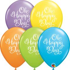 Baloane latex 11''/28 cm inscriptionate Oh Happy Day Pastel, Qualatex 90961