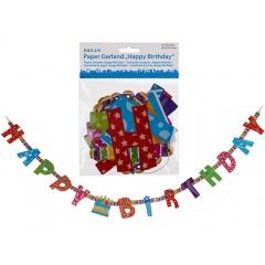 Banner decorativ pentru petrecere, Happy Birthday, L: ca. 1,55 m, Radar 181035, 1 buc
