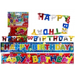 Banner decorativ pentru petrecere, Happy Birthday, ca. 1,45 m x 10 cm & 90 x 13 cm, Radar 181013, set 2 buc