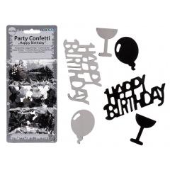 Black/silver coloured party confetti, 3 assorment/pack, 28g, Radar 181046