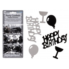 Confeti negru/argintiu Happy Birthday - 3 sortimente/set, ca. 28 g, Radar 181046