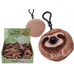 Plush sloth face with sound & carabiner hook (incl. batteries), ca. 10 cm, Radar 32/2084, 1 buc