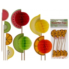 Wooden pick with paper fruits - H: ca. 18 cm, Radar 500172, pack of 8 pcs