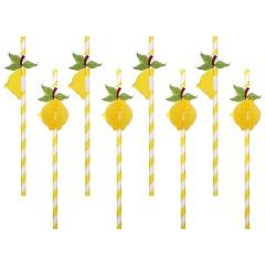 Fruit paper straw - L: 18 cm, Radar 500175, pack of 8 pcs