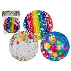 Farfurii carton pentru petrecere, colorate - 23 cm, Radar 62/0803, set 8 bucati, 3 modele