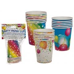 Pahare carton pentru petrecere, colorate - 250 ml, Radar 62/0804, set 8 bucati, 3 modele