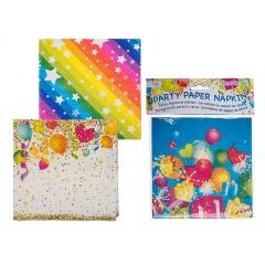 Paper party napkin, ca 33 x 33 cm, 2 ply, Radar 62/0805, 12 pcs, 3 ass