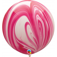Balon Latex Superagate 30 inch (75 cm), Red & White, Qualatex 55379, set 2 buc