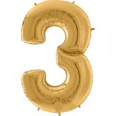 "64""/163 cm Gold Number 3 Shaped Foil Balloon, Air + Helium, Radar 640203G"