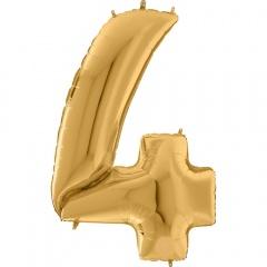 "64""/163 cm Gold Number 4 Shaped Foil Balloon, Air + Helium, Radar 640204G"
