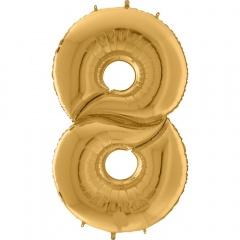 "64""/163 cm Gold Number 8 Shaped Foil Balloon, Air + Helium, Radar 640208G"