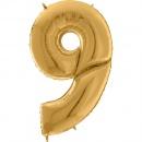 """Balon Folie Mare Cifra 9 Auriu - 64""""/163 cm, Aer + Heliu, Radar 640209G"""