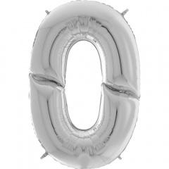 """Balon Folie Mare Cifra 0 Argintiu - 64""""/163 cm, Aer + Heliu, Radar 640900S"""