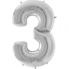 """Balon Folie Mare Cifra 3 Argintiu - 64""""/163 cm, Aer + Heliu, Radar 640903S"""