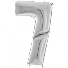 "64""/163 cm Silver Number 7 Shaped Foil Balloon, Air + Helium, Radar 640907S"