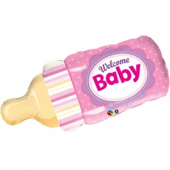"""Welcome Baby Girl Bottle SuperShape Foil Balloon, Qualatex, 39"""", 17729"""