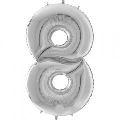 """Balon Folie Mare Cifra 8 Argintiu - 64""""/163 cm, Aer + Heliu, Radar 640908S"""