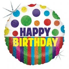 Balon Folie 45 cm Happy Birthday Buline si Dungi, Holografic, Radar 86822H