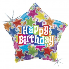 "19"" Happy Birthday Star Shaped Holographic Foil Balloon, Radar 85594H"