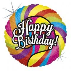 """18"""" Happy Birthday Lollipop Round Holographic Foil Balloon, Radar 36015H"""