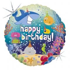 Balon Folie 45 cm Happy Birthday Marin, Holografic, Radar 36559H
