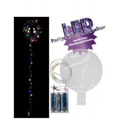 Party Foil Balloon with colorful lightchain - ca. 45 cm (inflated),  30 led-uri, Radar 62/0815