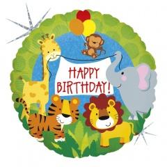 Balon Mini Folie Happy Birthday Animalute, 23 cm, umflat + bat si rozeta, Radar 32569H